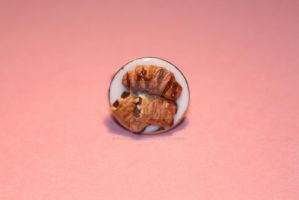 Realistic Polymer Clay Chocolate Croissants Ring by ClayConfectionary