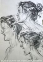Expressions Study- Profile Charcoal by Plangcartoon