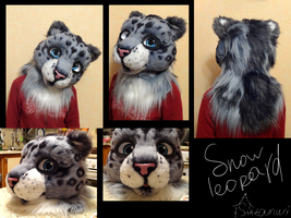 Snow leopard fursuit head. by Suzamuri
