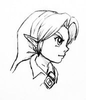 Young Link Profile Sketch by Left-Handed-Knight