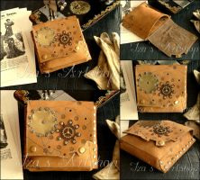 Small Steampunk Nubuck Belt Bag by izasartshop