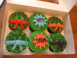 Ninja Turtles Cup Cakes by gertygetsgangster