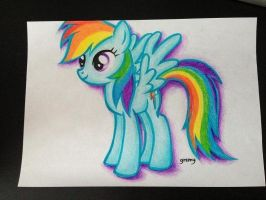 Rainbow Dash (colour pencils) by gremygremy