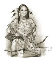 Ballpoint pen art - Kristin Kreuk native American by ArtisAllan
