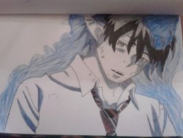 Ao no exorcist Rin(fanart) by LynUnderwood