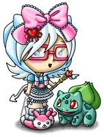 Quinny and her Bulbasaur by louisalulu