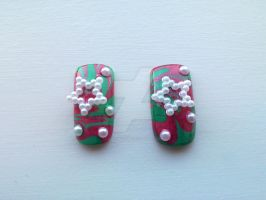 Christmas Marble Nails by lemony-kitty