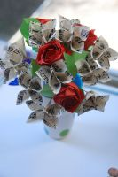 Vintage Sheet Music Origami Rose Bouquet by lisadeng