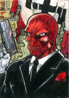 Red Skull Sketch Card by DKuang