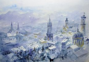 Lviv, the winter by Metttko