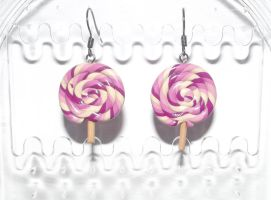Pink lollipop earrings by MeticulousBlue