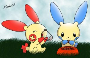 Plusle and Minun by Ry-HD