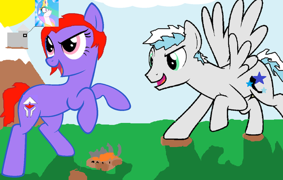 Destoryed Ponyville With My New Friend (gift by stcole1