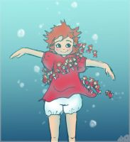 Ponyo and her little sisters by zombie-ade