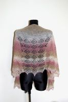 Lace shawl in beige, ecru and pink by NitkaAG