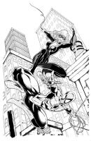 Spiderman and Black Cat inks by seanforney
