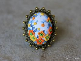 Orange and White Polymer Clay Embroidery Ring by CharanCreations