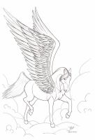 Pegasus Line Art 2012-11 by Blood-Huntress