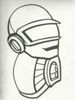 Daft Punk's Helmets sketch by Lenore619-Void