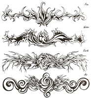 Elemental Tribal Tatoos by shinigami714