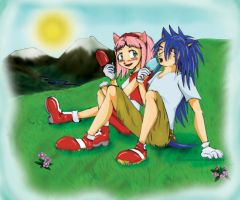 Sonic and Amy - Day Out by Hylian-Rinku