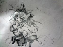 Caster from Fate Extra~ Pencil Drawing~* WIP by mrmanime01