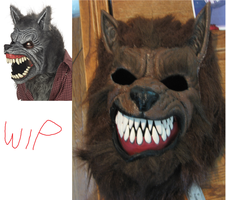 New Werewolf Mask WIP by King-Candy