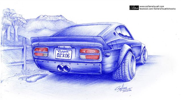 Datsun 240z Ballpoint Drawing by SofianeTOUATI