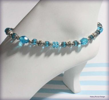 Lt Sapphire Silver Anklet by MadamRavenDesigns