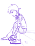 Jason Terrell - Getting his Trainers on - Sketch by LevelInfinitum
