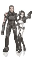 Shepard and Miranda quick drawing by SandikaRakhim