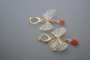 caught my fancy - cured seal gut earrings by EskimoScrybe