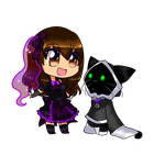 Cho and Madi -me- (couple chibi SAMPLE) by CattyMaddie