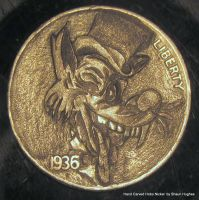 Ed Hardy Wolf Tattoo Coin Carving by shaun750