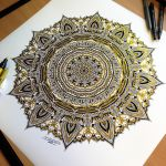 Golden Mandala Pen Drawing by AtomiccircuS