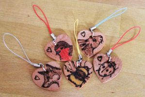 Mini Pyrography Animal Charms by BumbleBeeFairy