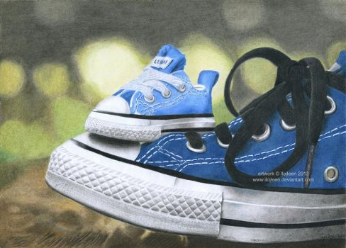 Converse sneakers drawing by Ilojleen