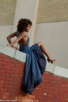 red brick white brick blue dress by today-morning