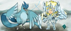 Cisne and Articuno chibi by Wish89as
