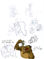 B.E.N. and Oro sketches by EarthGwee