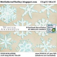 Winter Arabesque Outlined Snowflakes by Mollie-Coonce