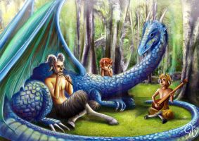 Fauns and Dragon by springofsea