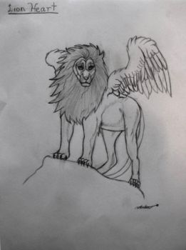 Winged lion: Lion Heart by 13-kingofhearts-13