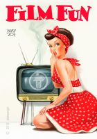 pin-up girl and vintage tv set by aleksangel