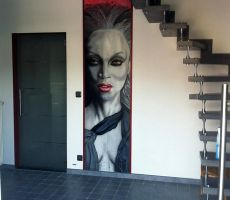 red grey mural based on Tyra Banks by Stew-Illustrations