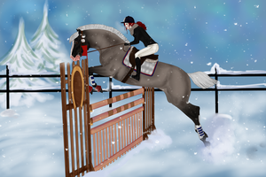tindra hunter over fences by Auraleyki