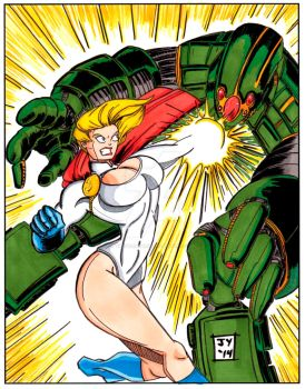 Power Girl in Color by John Yuan by TheYuanTwins