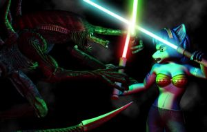 Krystal Alien lightsaber fight by DarkStory
