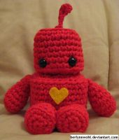 Cute Robot - Red by berlynnwohl