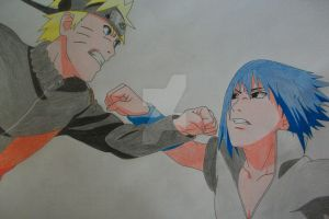 Final Fight! Naruto and Sasuke -colored- by SakakiTheMastermind